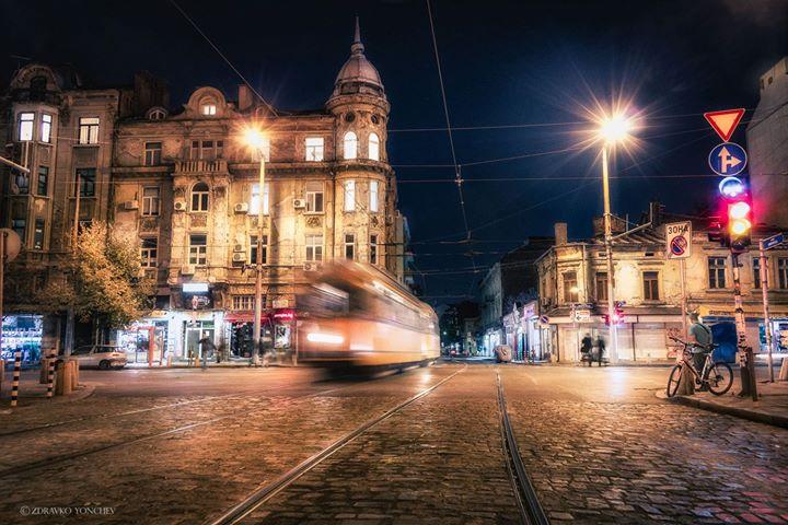 Sofia city centre by night.